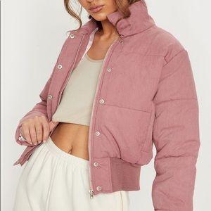 Pink Puffer Jacket Cropped